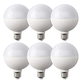 PROCURU 6-Pack G25 LED Globe Round Bulb 5W=40W Non-Dimmable 450L 2700K Soft White Omnidirection for Vanities/Lamp/Fixtures