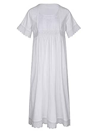 Cloudy Dream Cotton Women Nightgown Short Sleeve Victorian