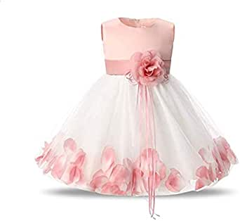 Tutu Flower Girl Petals Bow Dress for Toddler Girl 7-8Y
