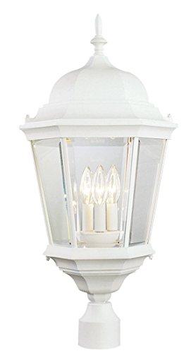 Outdoor Post Light 3 Light Fixture with White Finish Cast Aluminum Candelabra 13