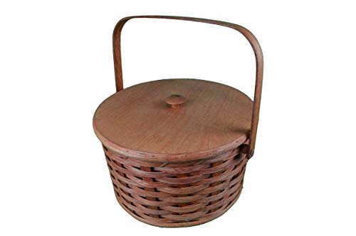 Round Double Pie Carrier Basket with Tray and Lid Made in the USA. Collectible Handmade Primitive Decor, Carry Your Pies in Style to Thanksgiving, Easter, and Christmas Dinners. Featured in the La Times News Paper.