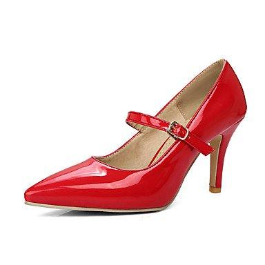 Talones de las mujeres Primavera Verano Otoño oficina y carrera Otro Charol fiesta y noche vestido de tacón de aguja hebilla Negro Rosa Rojo Beige Red