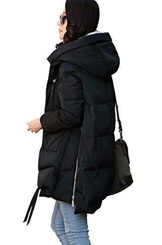 Elegantes Mujer Moda Schwarz Acolchado Vintage Con Estilo Capucha Larga Otoño Abrigo Bolsillos Acolchada Invierno Cremallera Especial Casual Chaqueta Colores Manga Sólidos ZnIdqZ