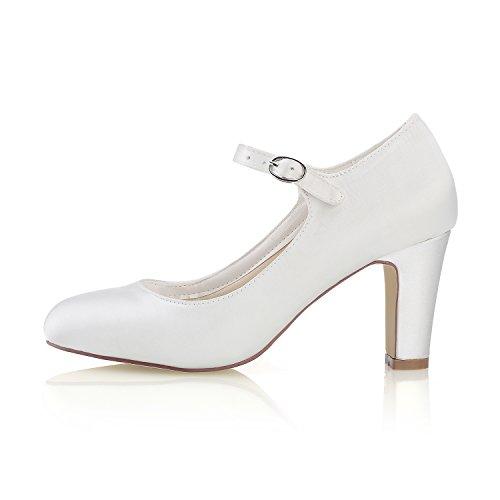 Mrs Satin Escarpins Femme Ivoire 5cm de 5 White Pour 7 3421 Chaussures Entier Mariage Mariée qrqBSC