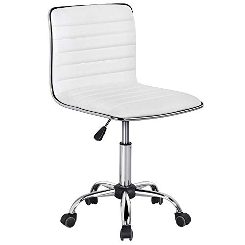 Yaheetech Adjustable Task Chair PU Leather Low Back Ribbed Armless Swivel White Desk Chair Office Chair ()