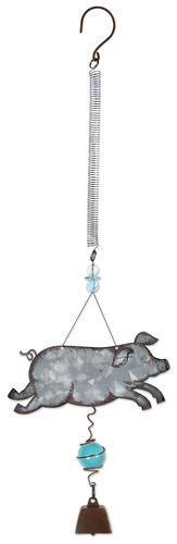 Sunset Vista Designs 92163 Bouncy Garden Decoration with Mini Cowbell, 11-Inch, Pig ()