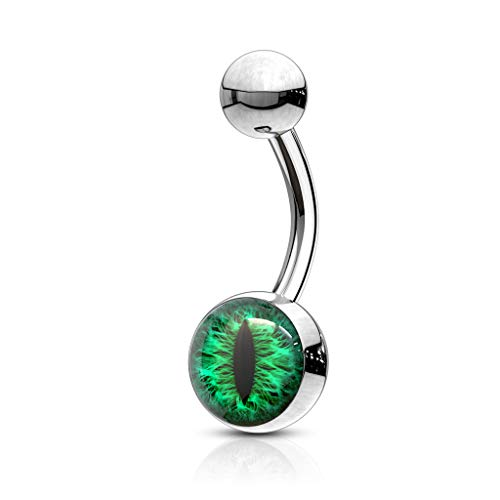 (MoBody 14G Snake Eye Belly Button Ring Surgical Steel Snake Eye Inlaid Curved Navel Piercing Jewelry (Green))