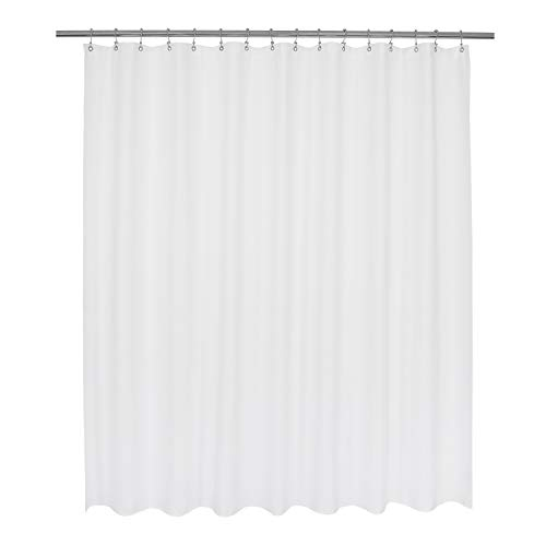 Wide Fabric Shower Curtain 96 x 72 inch - Waffle Weave, Hotel Collection, Water Repellent, Machine Washable, White - Pique Pattern for Decorative Bathroom Curtains, 96x72 (230 GSM) - Fabric Wide Curtain Shower