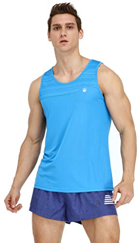 Leevy Running Singlet for Men Ultra Lightweight Beach Tank Top Dry Fit Sleeveless Workout Shirt(US Small=Tag XL Blue)