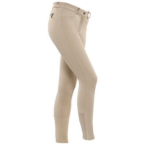 HR Farm Women's Full Seat Silicone Grip Breeches Horse Riding Jodhpurs (Beige, 34)