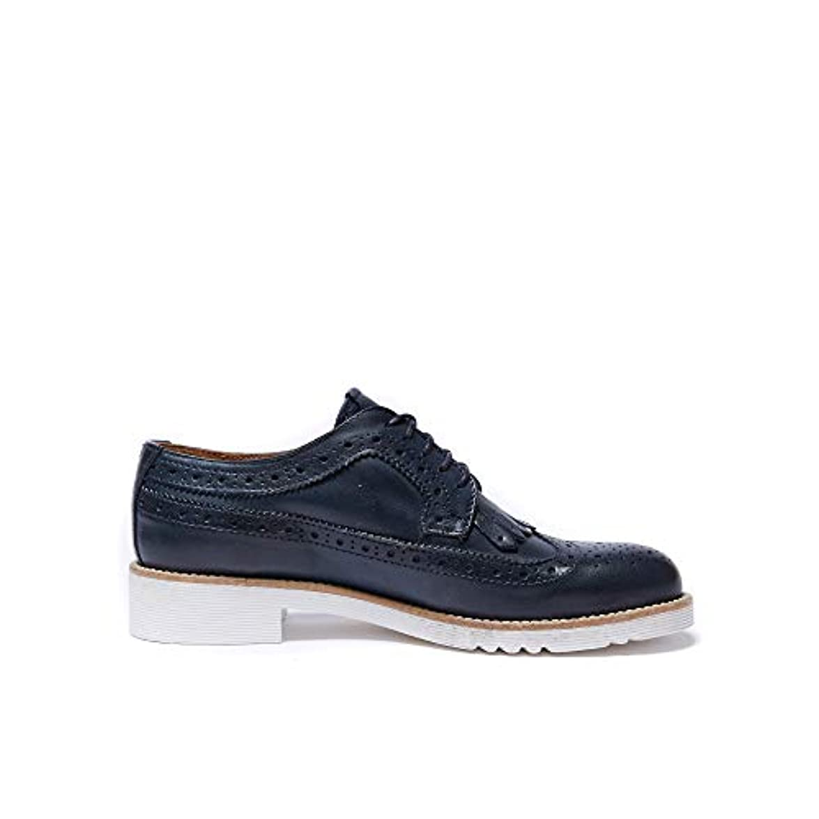 Scarpa Stringata Derby Con Decorazione Wing Cap Di Colore Blu Navy Donna