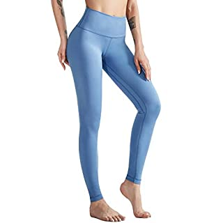 AladdinShare Workout Leggings for Women - High Waisted Ultra Soft Yoga Pants Tummy Control Compression with Pockets Blue S