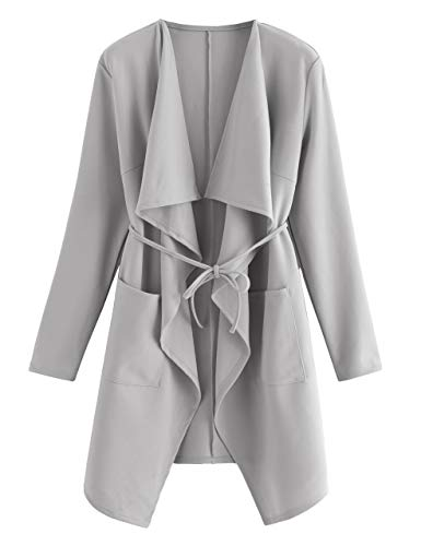 Romwe Women's Raw Cut Hem Waterfall Collar Long Sleeve Wrap Trench Coat Cardigan Grey XL