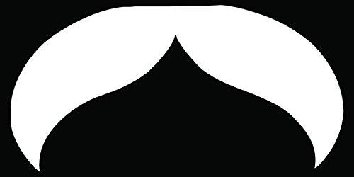 Man Mustache Type Facial Hair Car Truck Window Bumper Vinyl Graphic Decal Sticker- (8 inch) / (20 cm) Wide GLOSS BLACK - Of Facial Types Male Hair