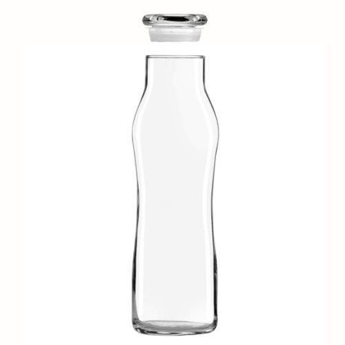 Libbey Glass 22 Oz. Hydration Decanter Carafe Bottle w/ Lid - Swerve Cylinder