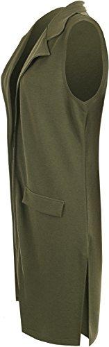 Faux Veste Sans 56 42 Manches Tailles Hauts Haut Vert Cardigan Poche Femmes WearAll Waistcoat Femmes TaHtqwH