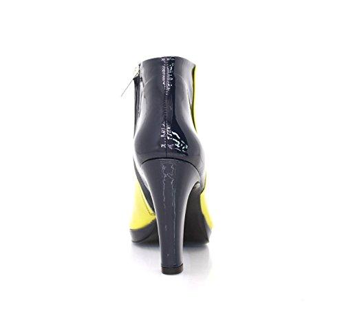 Stiefeletten Ankleboots Breiter Absatz 9cm Schwarze Rückseite Lemon Lackleder Lemon
