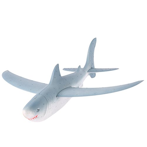 Wenasi EPP Super Durable Throwing Glider Shark Inertia Plane Foam Aircraft Toy Hand Launch Airplane Model Outdoor Sports Toy for Kids £¨17.7517.755.12 - Glider Hand
