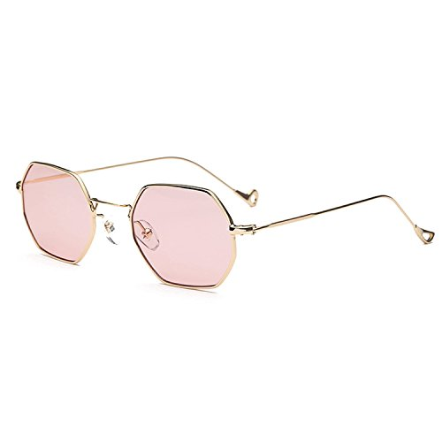 Small Square Polarized Sunglasses For Street Photography Octagon Sunglasses Gold Light Pinkc7