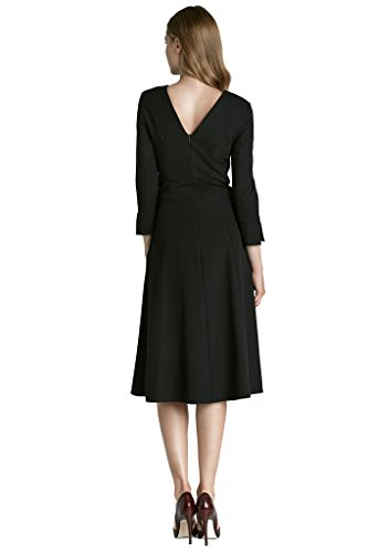 VictoriaV nife Damen Kleid A-Linie Midi 3/4 Arm Cocktailkleid Abendkleid Schwarz CP5kQbSH9