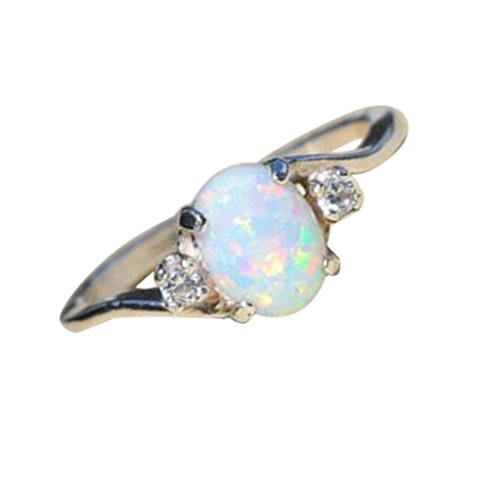 Women Rings,Yukong Sterling Silver Ring Oval Cut Fire Opal Diamond Ring...