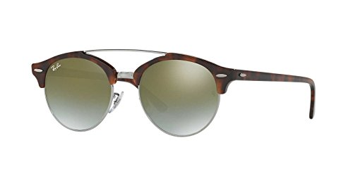 Ray-Ban Men's Clubround Double Bridge Round Sunglasses, Shiny Red Havana, 51 - Bridge Ray Ban Double Round
