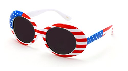 V.W.E. Vintage Sunglasses UV400 Bold Retro Oval Mod Thick Frame Sunglasses Clout Goggles White USA American Flag (Gray - Novelty Goggles