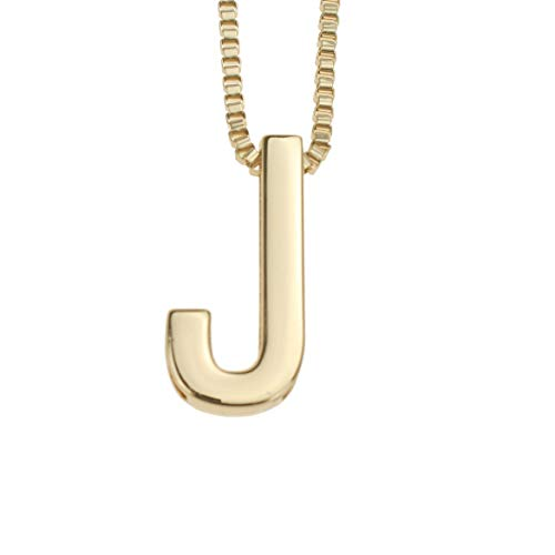 Coolcoco Fashion Metal Gold DIY Letter J Initial Name Pendant Necklace for Women Men Adult Kid
