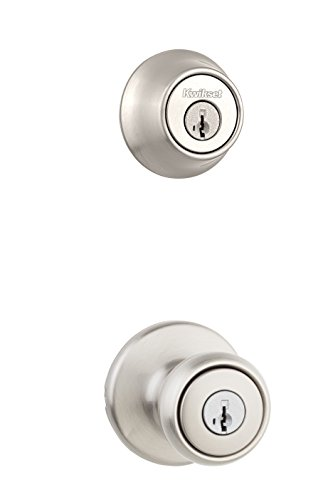 Kwikset 690T 15 SMT Tylo Keyed Entry Knob and Single Cylinder Deadbolt Combo Pack Featuring SmartKey, Satin Nickel