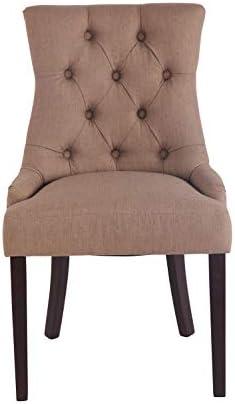 Yellow Soho - Chaise Vintage Charlotte Tissu Couleur des Pieds - FONCES, Couleur Principale - Taupe, LOT - x1