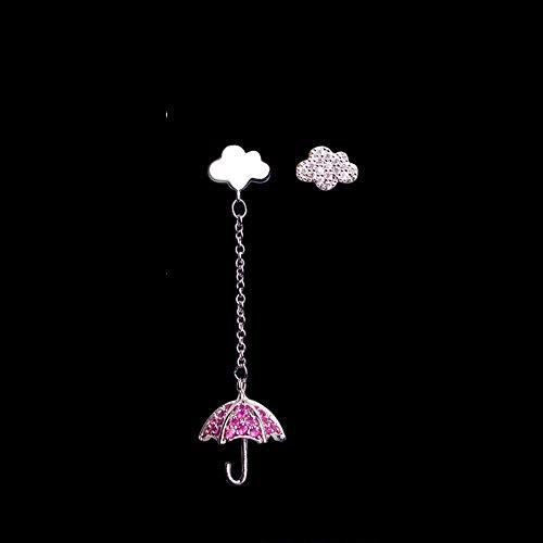 Women Asymmetrical Umbrella Cloud Earrings Cubic Zircon Ear Stud Crystal
