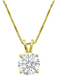"2/3 Carat 4 Prong Solitaire Basket Diamond Pendant Necklace 18K Yellow Gold (I, I1, 0.6 ctw) w/ 16"" 14K Yellow Gold Chain"