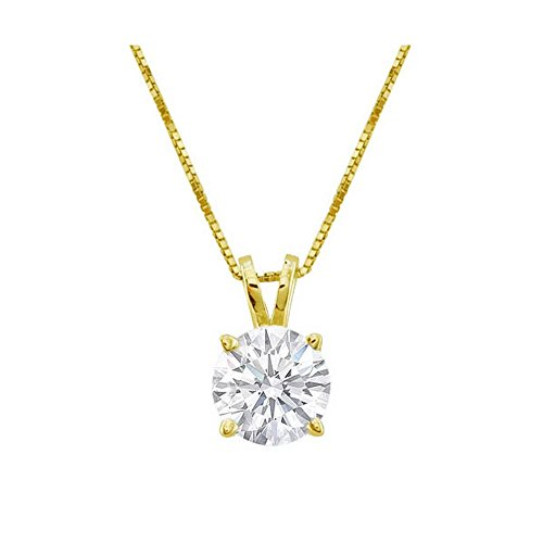 1/2 Carat 4 Prong Solitaire Basket Diamond Pendant Necklace 18K Yellow Gold (K, I2, 0.5 ctw) w/ 16