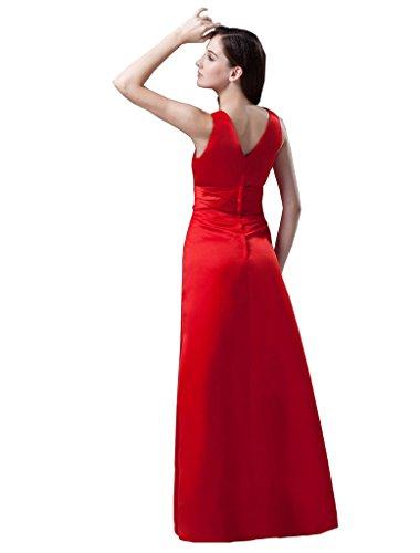 Dormencir Empire Profond Col V Femmes Une Ligne Sexy Robes De Soirée Rouge De Bal Longue