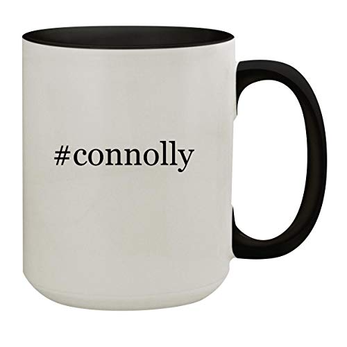 #connolly - 15oz Hashtag Colored Inner & Handle Ceramic Coffee Mug, Black