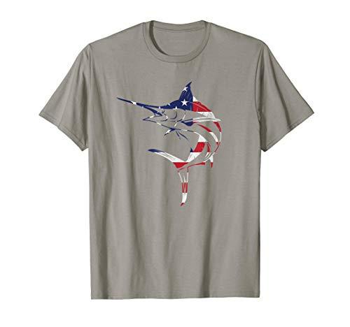 Fishing Gift Blue Marlin Fish American Flag USA 4th Of July T-Shirt