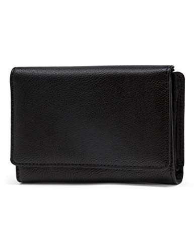 Mundi Small Womens RFID Blocking Wallet Compact Trifold Safe Protection Clutch With Change Purse ((Black)) ()