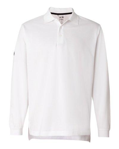 72496038 Galleon - Adidas Mens ClimaLite Tour Pique Long Sleeve Polo Shirt - WHITE/ BLACK - XX-Large
