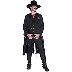 Smiffys Men's Authentic Western Sheriff Costume, Jacket, Top, Dicky Bow and Badge, Western, Serious Fun, Size M, 36156