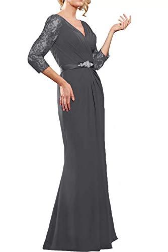 Grau Guertel mit La Langarm Brautmutterkleider Spitze Marie Partykleider Lang Chiffon Braut Elegant Abendkleider vxBZ7v