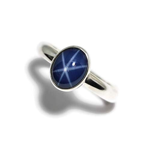 Large Oval Created Blue Star Sapphire Sterling Silver Ring (Created Blue Star Sapphire Ring)