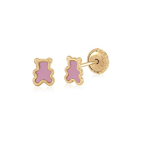 MASSETE 14k Yellow Gold Screwback Earrings Teddy Bear Pink for Baby and ()