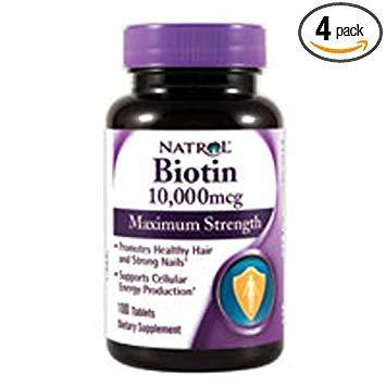 Natrol Biotin, Maximum Strength, 10,000 mcg Tablets 100 ea (Pack of 4) by Natrol