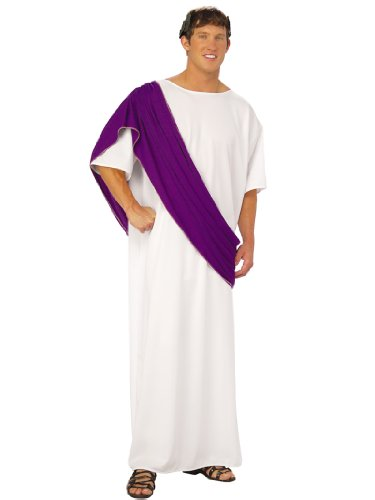 Caesar Costume Rome Greek Toga Robe Purple and Gold Theatrical Mens White (Greek Philosopher Costume)
