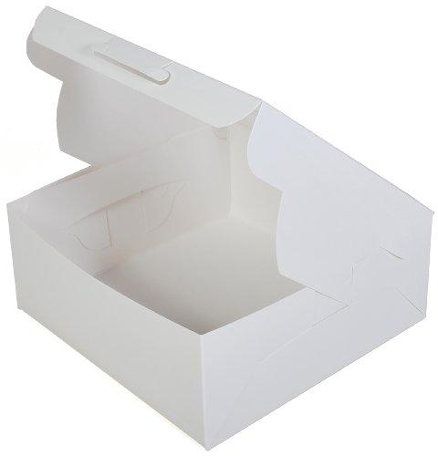Southern Champion Tray 23073 Paperboard White Lock Corner Window Bakery Box, 12'' Length x 12'' Width x 5'' Height (Case of 100) by Southern Champion Tray (Image #1)