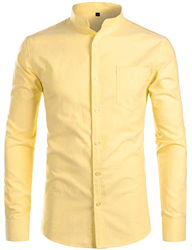 ZEROYAA Men's Hipster Banded Collar Solid Slim Fit Long Sleeve Oxford Dress Shirts with Pocket Z112 Yellow X-Large Banded Collar Long Sleeve Work Shirt