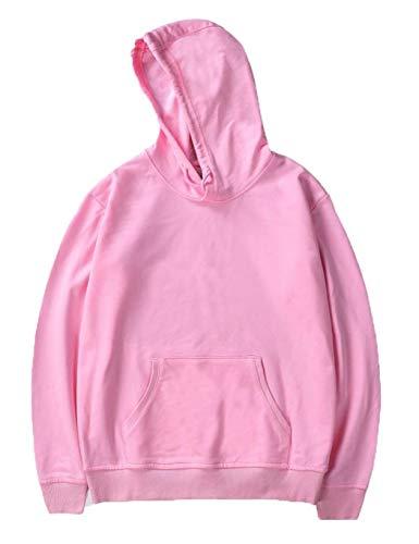Uomo Donna lunghe con Aimado solido rosa in cappuccio cappuccio Casual a con maniche chiaro felpe pullover 5R0qffwdx