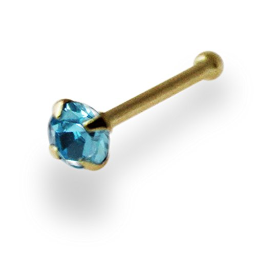 2.5MM Aquamarine Genuine Crystal Stone 14ct Solid Yellow Gold 22 Gauge - 6MM Length Nose Bone Nose Stud