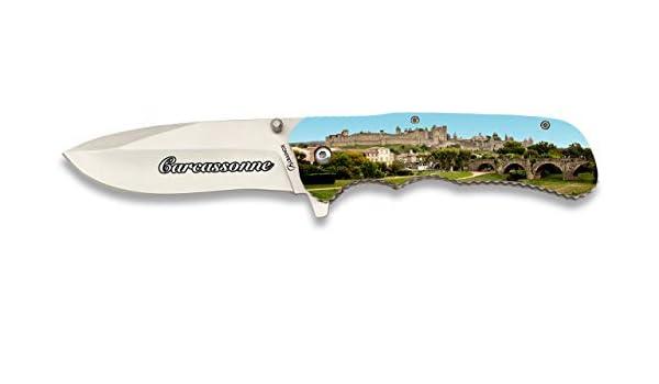 Navaja 3D Carcassonne Madera , 9 cm para Caza, Pesca, Camping, Outdoor, Supervivencia y Bushcraft Albainox 18152 + Portabotellas de regalo: Amazon.es: Deportes y aire libre