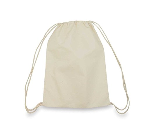 1553c5cb8d98 Georgiabags Large Size 100% Cotton Drawstring Bag, Reusable Cinch Pack,  Ideal for sports, gym, daily use, promotional bag (100)